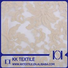 Amazing gold organza african cord lace fabric for bridal gown