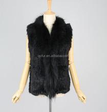 QC2293-2 black genuine rabbit fur knit vest/gilet for women with raccoon fur collar