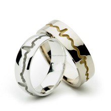 Stainless Steel Heartbeat Line Design Rings Men's Gold Ring Unique Jewelry Design