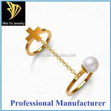 Fashion stainless steel gold plated cross ring and pearl two rings
