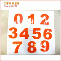 motorcycle reflective number decals,motors racing sticker,colored number stickers