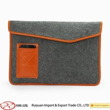 Customized size felt laptop sleeve ,laptop bag with leather edge new for 2015