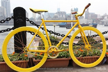 2015 best design mini fixie yellow fixed gear bike wholesale in china