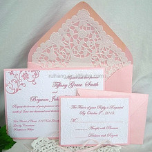 Embossed Elegant wedding invitation many color of reply cards and envelopes