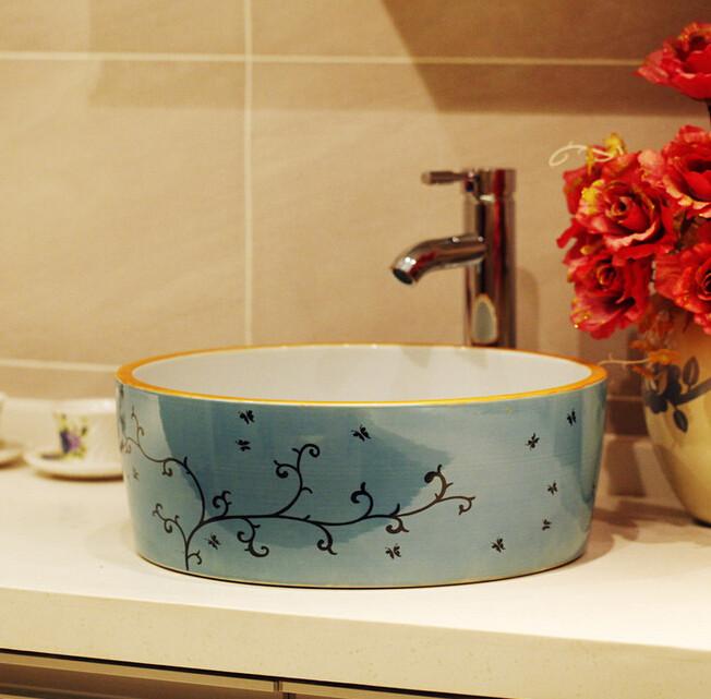 Chine peinture artistique bleu et blanc en c ramique for Lavabo ceramique ou porcelaine