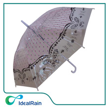 customized lady's style print clear umbrella with hook handle