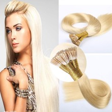 2015 Best quality 7A grade wholesale blond I tip Italian keratin hair extensions