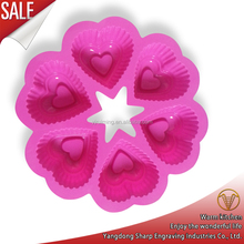 6 cavities heart shape silicone molds, silicone baking molds, cake mold