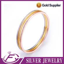 Simple design cz stone sterling silver imitation 22k gold plated bangle