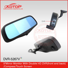 Dual lens vehicle car camera dvr video recorder with compass, photographic, touch screen 12V-24V support