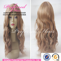 Popular 14# blond color kosher certification 18'' european virgin hair jewish wigs