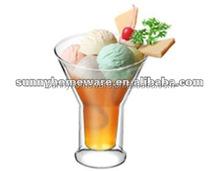 hand made glass ice cream jar / ice cream glass jar / double wall ice jar