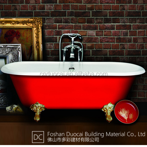 Free Standing Cast Iron Clawfoot Red Classic Slipper Bath Tubs Cz J020 Bu