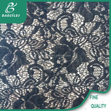 Black color bulk good quality nylon and polyester lace fabric use for ladies sexy underwear