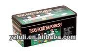Texas Holdem poker set with printed poker mat