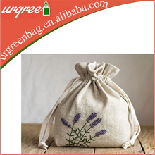 Natural Cotton Drawstring Bag With Hand Embroidered Lavender