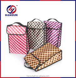 Outdoor fitness nonwoven insulated lunch bag grid cooler bag