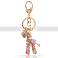 Hot Selling Product Toy Cartoon Zebra Gold Plated Crystal Horse Keychain for Children/Women