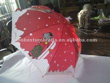 "19"" x 8 ribs winter christmas dog manual safety kid's umbrella"