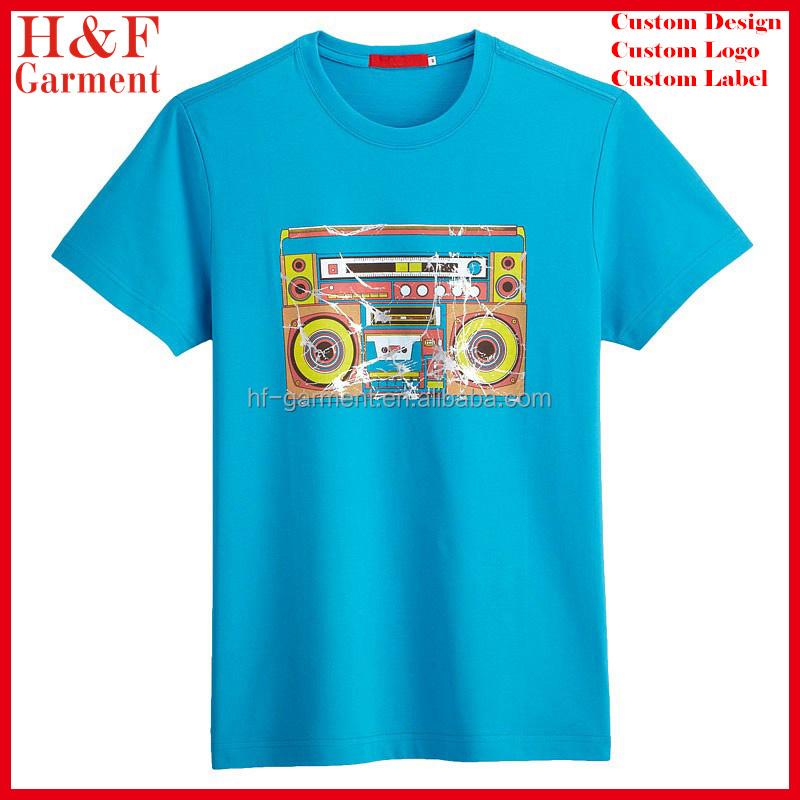 High quality plain t shirts in sky blue custom printed for High quality custom shirts