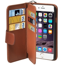 Wallet Style Six Card Slots PU Leather Case with Lanyard for iPhone 6(Brown)