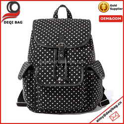 Fashion Polka Dots buckle Flap Casual Canvas Backpack
