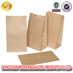 2015 China Wholesale Small Kraft Brown Paper Grocery Bags Square Bottom High Quality