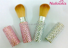 retractable cosmetic brush with OEM design and beautiful rhinestone