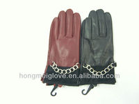 V236 new style bordeaux color leather gloves for ladies
