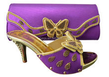 Purple fashion sandal shoe and bag to match