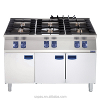 sopas 700 series Modular Cooking Stainless Steel Industrial 6 burner Gas Stove with Cupboard