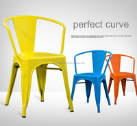 Dining room furniture type and dining metal chair powder coated in yellow color