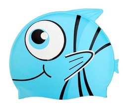 Summer promotional gifts low MOQ ear protection swim cap, latex swimming cap