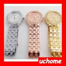 UCHOME luxury diamond golden watch,japan movement quartz high end watch