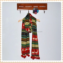 winter new pastoral hairs hand stitched ball fringed long scarf