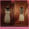 dl661 foto real caliente de diseño corto de encaje sexy nude vestido de cóctel