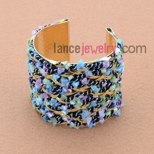 Fashion Plating With Trendy Mix Color Cord Iron Bangle Bracelet Arm Cuff