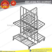 powder coated magazine wire display rack with casters