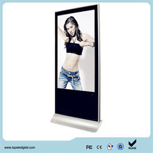 55 inch FHD super slim free standing shop signs touch screen digital signage content