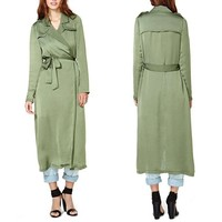 2014 lady coat turn down collar waist belt green midi length winter coat Japan style