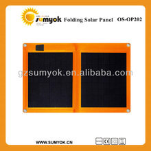 new design 18% high efficiency portable 20W foldable solar panel with cord-lock for mobile phone