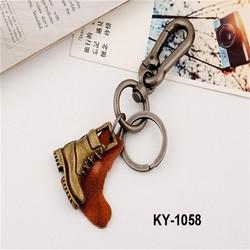 2015 Latest original design vintage weave series keychain metal mini shoe punk leather charm keychain