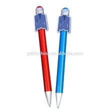 Promotional Suits Cartoon Character Clip Plastic Ball Pens/ Custom Cartoon Clip Pen /Promotional pen
