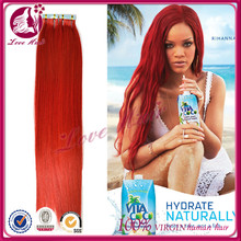 Easy wear and take off true lengths straight tape hair brazilian skin weft hair vendors new color red preference