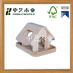 Handmade cheap DIY small wood bird house toy for kids wooden bird house feeder