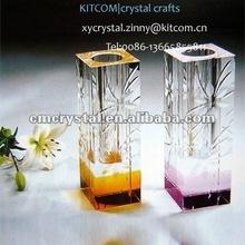 engraved home decor crystal flower vase purple
