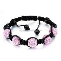 SZ-2123-5 Wholesale Cheap Shamballa Bracelet With Pink Crystal Ball Charm