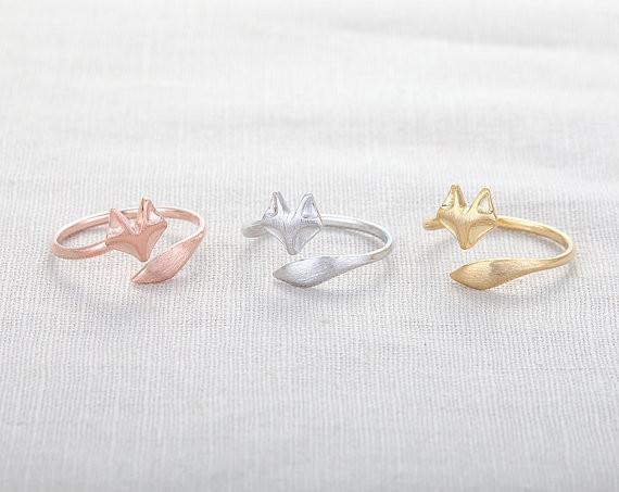 Cute Fox Ring - Silver Fox rings,unique rings,adjustable rings,animal rings,stretch rings,cute rings,cool rings
