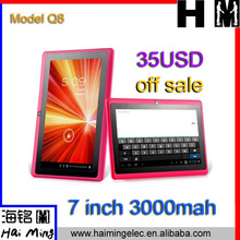 sale promotion tablet pc 7 inch big battery all winner A13 model Q8