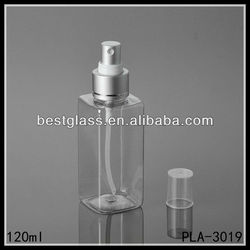 square shaped 120ml PET bottles/ cosmetic bottles/ plastic bottles with spray